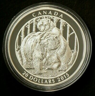 2015 Canada $20 Grizzly Bear Togetherness Silver 99.99% #1611
