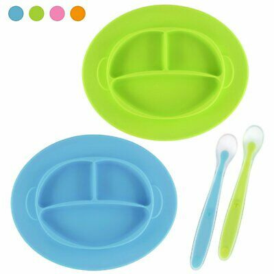 Baby silicone suction place-mat Plate, w/Feeding spoon