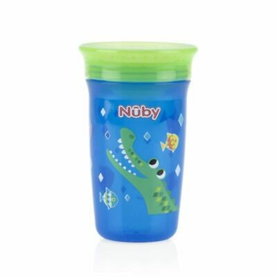 Nuby Active Sipeez 360 Degree Maxi Cup in Blue with Crocodile 6m+ New