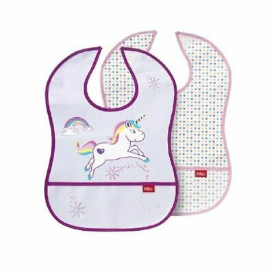 Nuby Baby Led Feeding Catch All Bibs Pink & White Hearts & Unicorn 2pack New