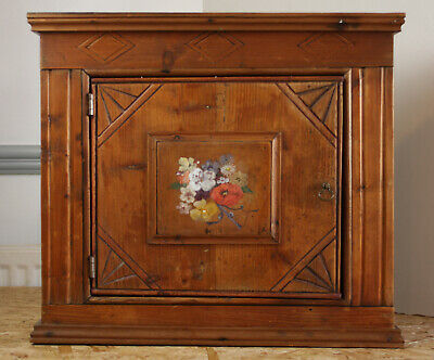 Antique Pine Rustic Kitchen Wall Unit Cupboard Cabinet
