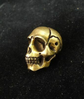 Top Quality Cute Solid Bronze Brass Hand Casting Head Skull Statue Pendant
