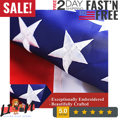 American USA US Flag 4x6 ft Deluxe Embroidered Stars Sewn Stripes Brass Grommets