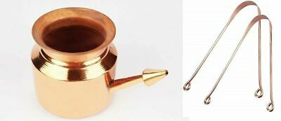Pure Copper Neti Pot Jala Neti Lota For Hindu Pooja Sun + Copper Tounge Cleaner