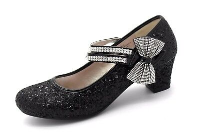 Lilley Older Girls / Ladies UK 5 Black Sparkly Glitter Mary Jane Shoes with Bow