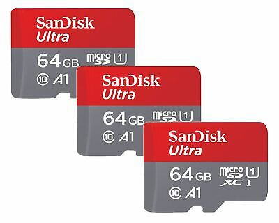 64GB SanDisk Ultra Micro SD SDXC Memory Card 100MB s Class 10 - THREE PACK