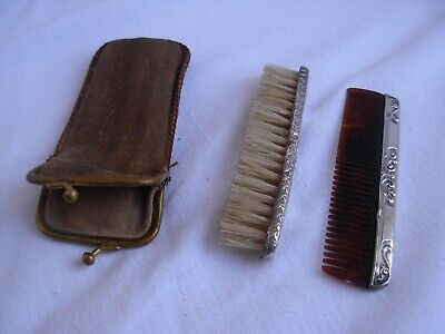 ANTIQUE FRENCH SOLID SILVER MUSTACHE COMB & BRUCH,LATE 19th CENTURY.