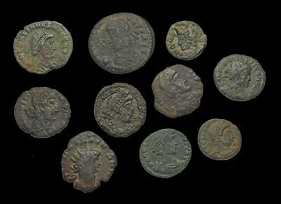 ROMAN IMPERIAL. Lot of 9 assorted Late Empire bronze coins