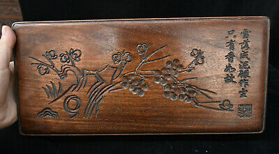 """14"""" Old Chinese Huang Huali Wood Plum blossom Flower Storage Jewelry Box Statue"""