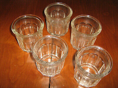 Lot De 5 Anciens Pots A Confiture En Verre Epais Lot N°6