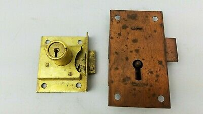 Vintage Cabinet Drawer Locks ~ No Keys ~ AS-IS ~ Copper & Brass ~ Y&T