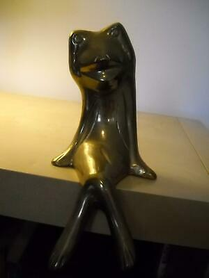VINTAGE Brass FROG Ledge SITTING Figurine MOUTH Open LEGS Crossed CARVED Details