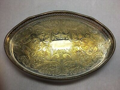 VINTAGE Reed and BARTON Copper on SILVER PLATE Oval SERVING TRAY GVC 1989