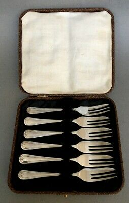 ANTIQUE set of x 6  SILVER PLATED PASTRY FORKS in box boxed vintage epns