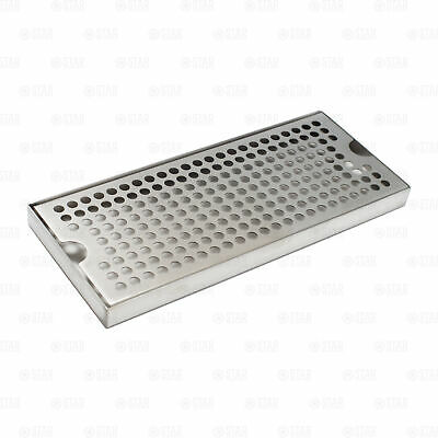 """12"""" x 5"""" Stainless Steel Beer Kegerator Surface Tower Drip Tray Removable Grate"""
