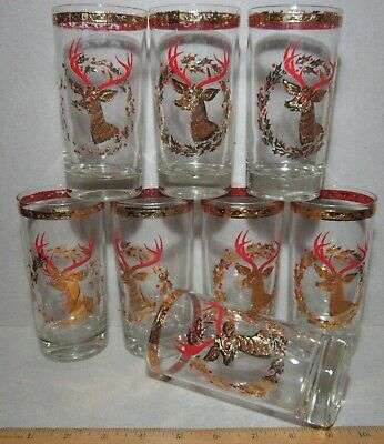 Rudolph Reindeer Gold Culver Cocktail Glasses 8 Mid-Century jeweled nose MCM