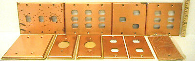 10 Heavy Duty Antique Smooth Copper Plate Metal Switch Toggle Blank Covers Wall