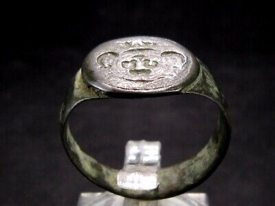 Extremely Rare Medieval Coat Of Arms Billon Ring+++Top Condition+++