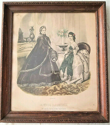 Vintage Antique Leroy Imp Paris La Mode Illustree Ladies Fashion Framed Art