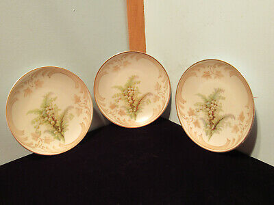 Vintage Old Ivory Silesia Floral Motif Lilly of the Valley Set of 3 Plates