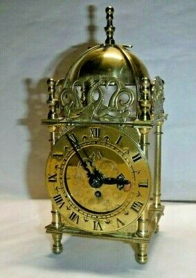VINTAGE SMITHS ENGLISH 8-DAY Brass Carriage Lantern Clock Working +Key
