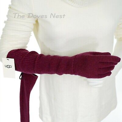 UGG Women's PORT WINE KNIT with LONG CUFF Winter GLOVES Wool Blend TOUCH SCREEN