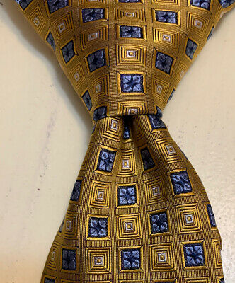 JOS-A-BANK Classic Collection Gold Blue Geometric Woven Silk Men's Tie -LONG 61""