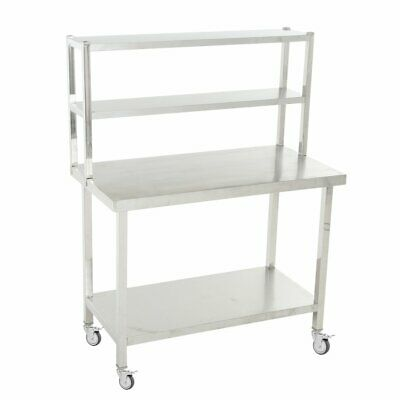 Commercial Stainless Steel Kitchen Prep Table with Double Overshelf + Wheels SS
