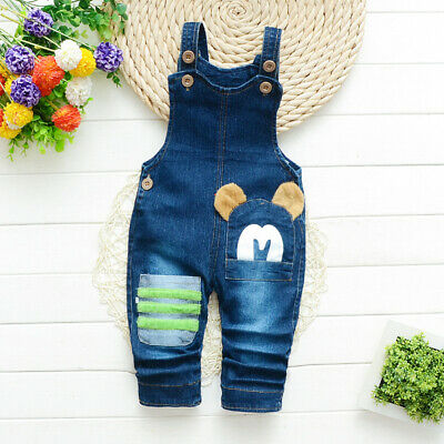 Infant Kids Boy Animal Print Pants Toddler Baby Boy Cartoon Denim Long Overalls