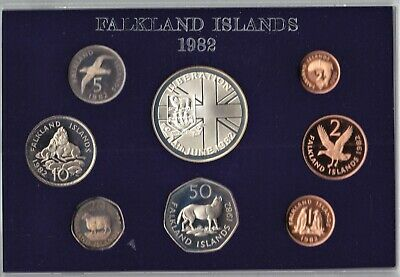 1982 ROYAL MINT FALKLANDS ISLANDS LIBERATION PROOF 8 COIN SET Free P&P