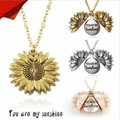Openable Sunflower Pendant Necklace YOU ARE MY SUNSHINE Pendant Chain Girls Gift