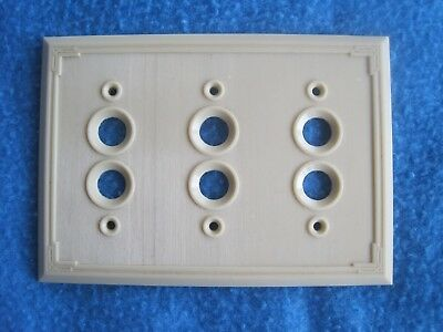 Vintage Art Deco Bakelite Ivory 3 Gang Push Button Switch Plate Cover