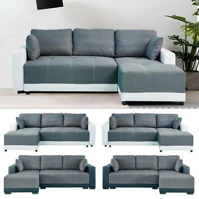 X-Large Sofa bed Luxury Faux Leather & Fabric Storage Sofabed Corner Sofa Settee