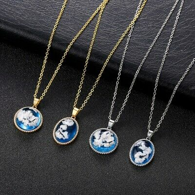 Transparent Resin Round Ball Moon Pendant Necklace Blue Sky White Cloud Jewelry