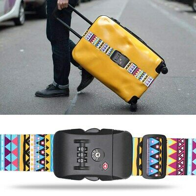 Retro Adjustable Luggage Security Straps Customs TSA Lock Travel Suitcase Belts