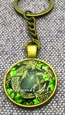 Wicca Cat & Celtic Moon Pentagram Glass Dome Bronze Colour Pendant Key Ring