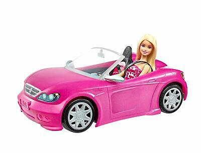 Barbie Doll + Pink Convertible Car Set 2-Seater Glam Kids Fun Toy Imagination