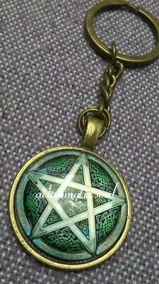 Wicca Celtic Pentagram Glass Dome Bronze Colour Pendant Key Ring