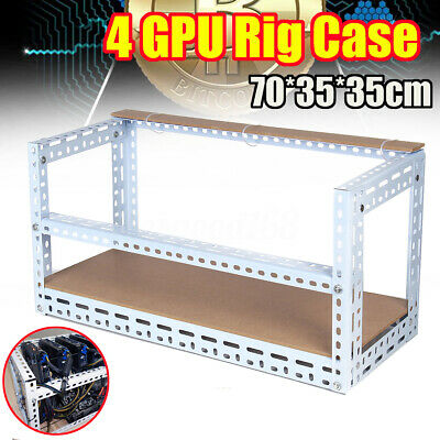 Crypto Coin Open Air Frame Mining Rig Case Steel Shelf Set For 4 GPU For Bitcoin