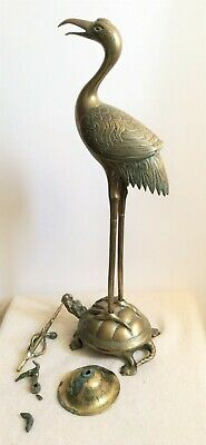 19th century brass Japanese sculpture of crane on turtle