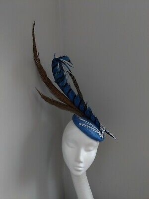 Royal Blue Pheasant And Silver Detail Fascinator, Cheltenham Festival, Races...