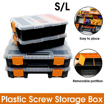 S/L Compartment Storage Hardware Accessories Case Screw Nails Carry Tool Box