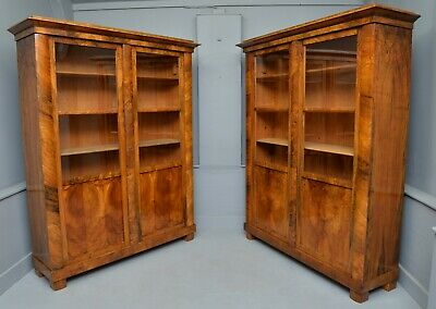 Striking Pair Of Biedermeier Figured Walnut Bookcase Cabinets