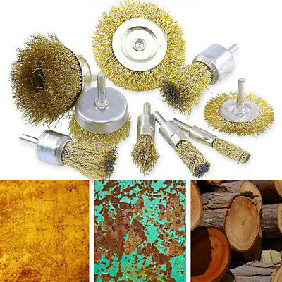 Wire Wheel Cup Brush Metal Wood Debris Cleaning Removing Rotary Drill Tools Kit