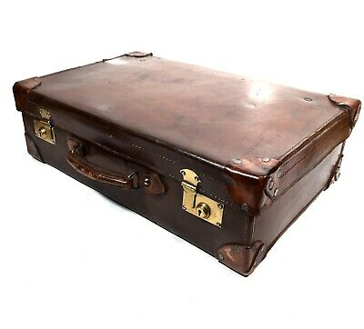 Antique Brown Leather Gentleman's Travel Bag / Suitcase /  High Quality / c.1910