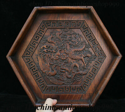 "14"" Chinese Huanghuali Wood Dragon Phoenix Tray Salver Saucer Pallet Tea-Things"