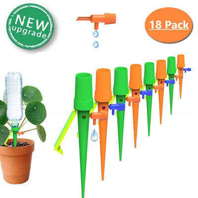 VINTONEY Self Watering Spikes with Control Valve Switch Slow Release Vacation Water Plants Automatic Plants Watering Drip Irrigation Spikes with Slow Release Control Valve Switch Pack of 12