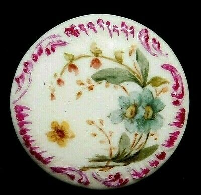 Antique BUTTON X-Large Porcelain Victorian Wildflowers w a Butterfly 1 & 11/16