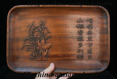 """14"""" Old China Huanghuali Wood Ancient Works Tray Salver Saucer Pallet Tea-Things"""