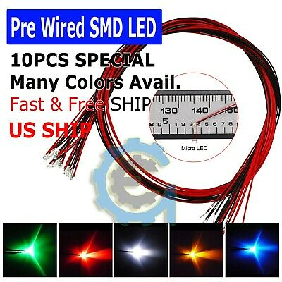 50pcs 0805 2012 Warm White Light SMD Pre-Wired LED Diodes Soldered 20cm Length